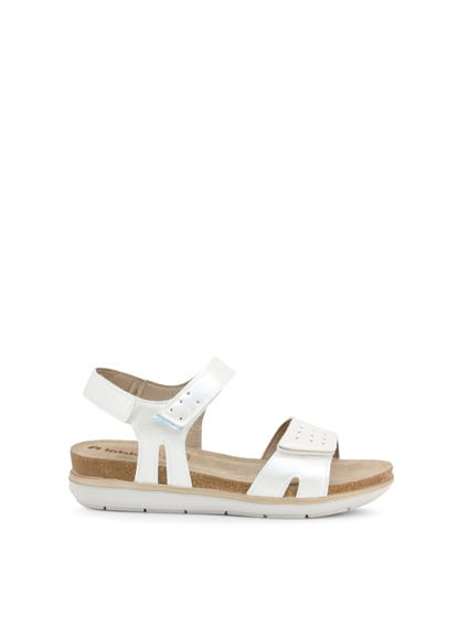 White Velcro Strap Leather Sandals