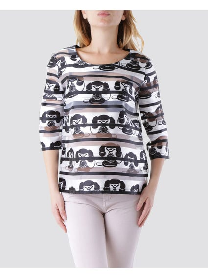 Round Neck Printed Blouse