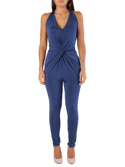 Blue Sleeveless Pocket Jumpsuits