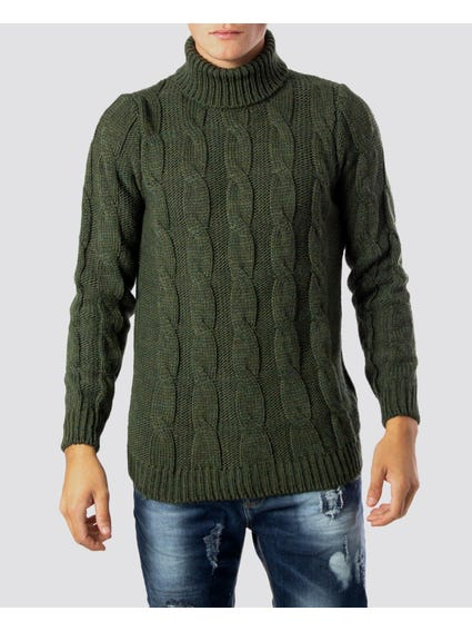 Green Classic High Neck Knitwear
