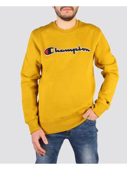 Yellow Ribbed Logo Sweatshirt