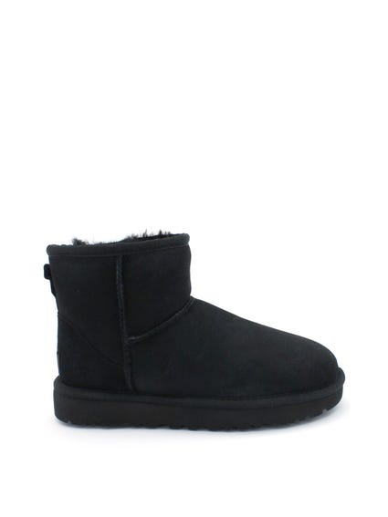 Black Suede Slip On Ankle Boots