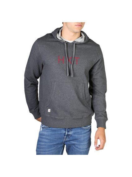Black Grey Kangaroo Pocket Sweatshirt