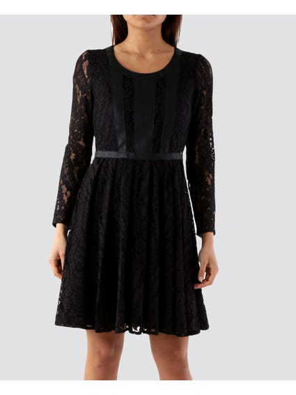 Floral Lace Long Sleeves Shift Dress
