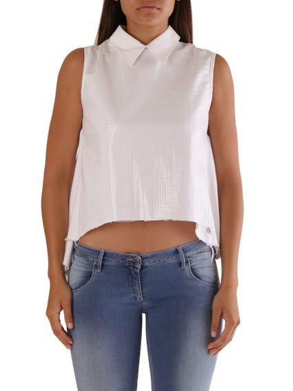 Collar  Neck  Sleeveless Blouse