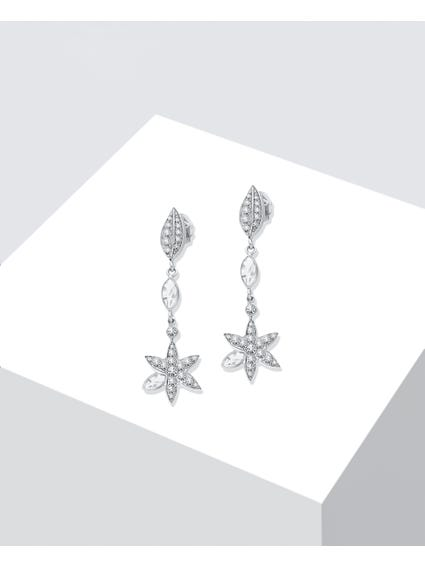 Silver Plated Natura Drop Earrings