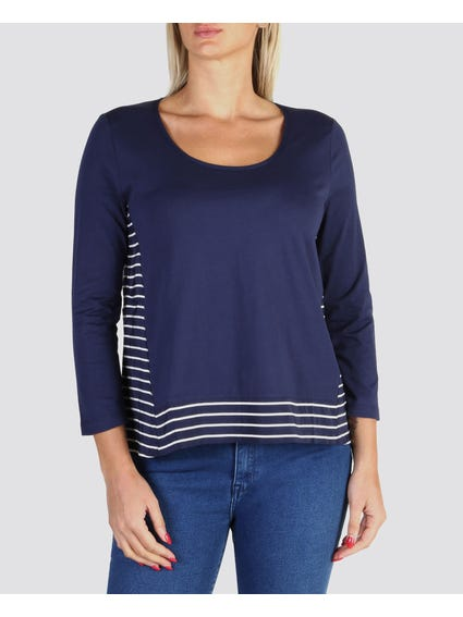 Wide Neck Long Sleeve Top
