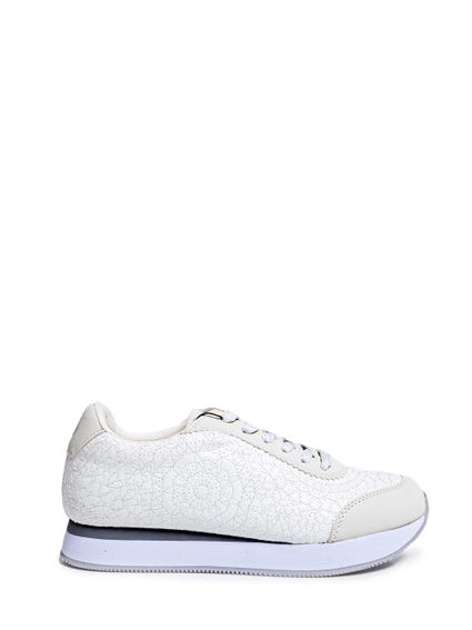 Stitched Pattern Lace Sneakers