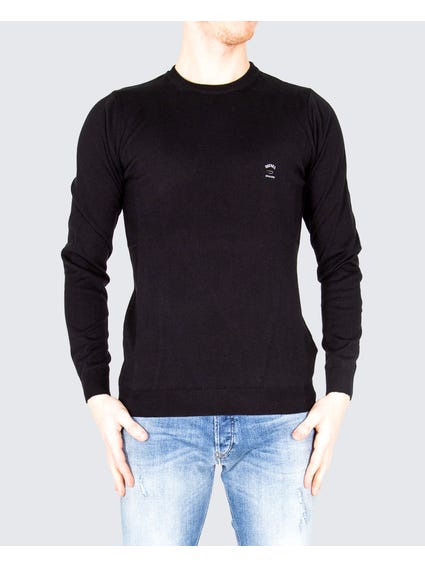 Black Ribbed Finish Sweatshirt