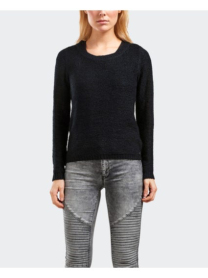 Black Plain Knitted Knitwear