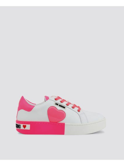 Pink Patched Low Top Sneakers