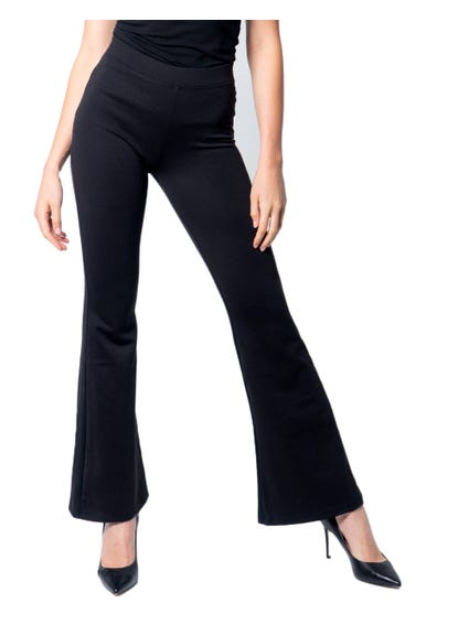 Plain  Elastic Flared Hem Trouser