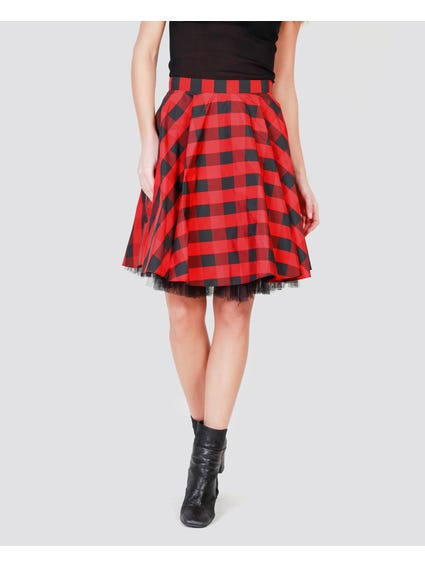 Red Checked Midi Skirt