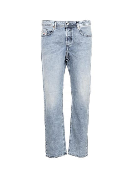 Denim Zip Straight Jeans