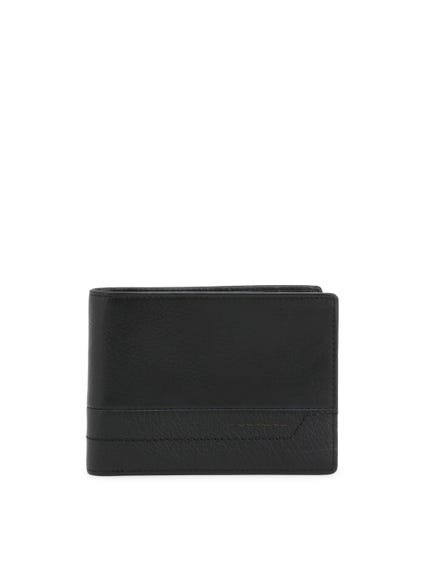 Black Leather Bi Fold Wallet