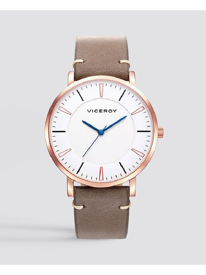 Beat White Dial Leather Watch