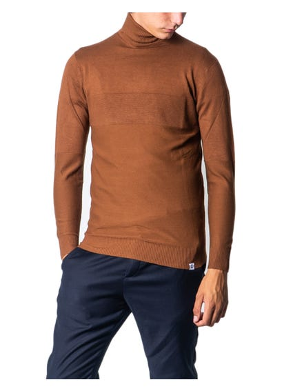 Brown Turtleneck Plain Knitwear