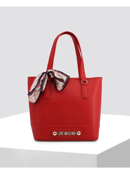 Red Plain Leather Shoulder Bag