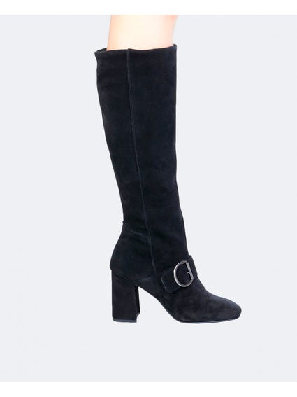 Black Romi Buckle Clasp Knee Boots