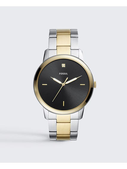Silver Two Tone Minimalist Stainless Watch