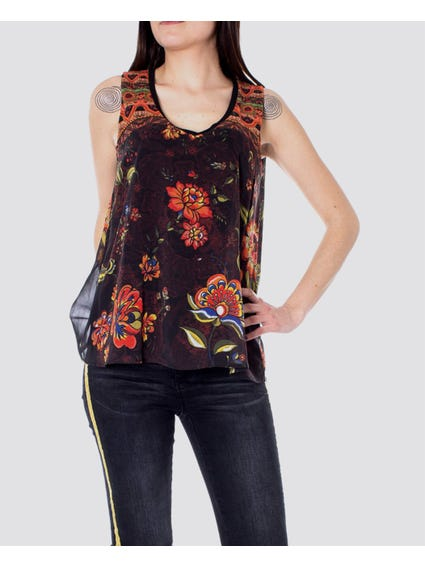 Layered Floral Print Sleeveless Top