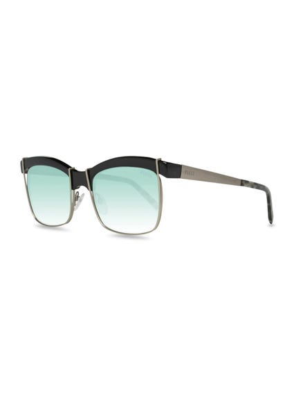 Faded Blue Lenses Mettalic Temple Sunglasses