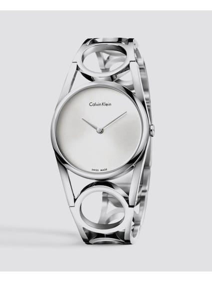 Round Silver Dial Stainless Steel Watch