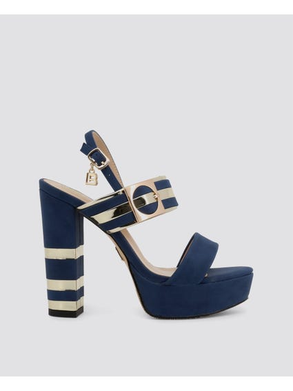 Blue Nabuk High Heel Sandals