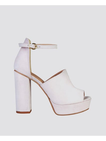 White Micheli Ankle Strap Sandals