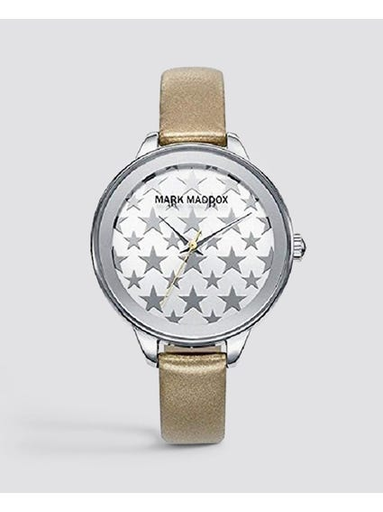 Beige Star Print Analog Watch