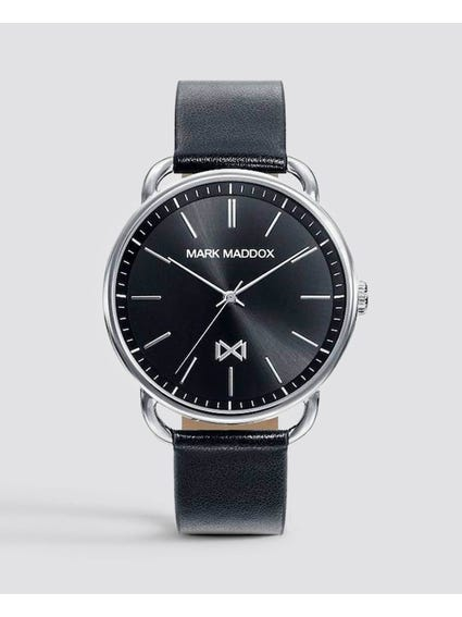 Leather Strap Black Dial Watch