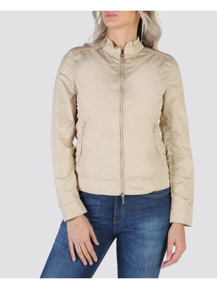 Brown Collar up Bomber Jacket