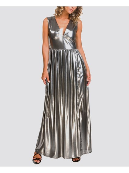 Metallic Pleated Sleeveless Maxi Dress