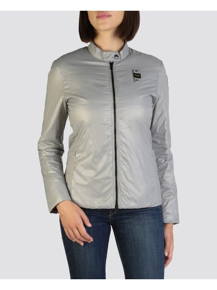 Silver Solid Color Jacket