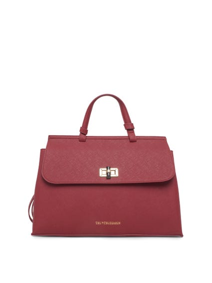 Red Leather Strap Hand Bag