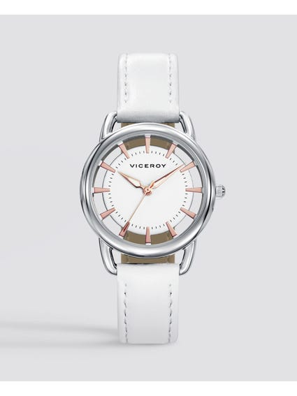 Sweet White Dial Leather Kids Watch
