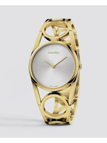 Silver Dial Yellow Gold Tone Watch