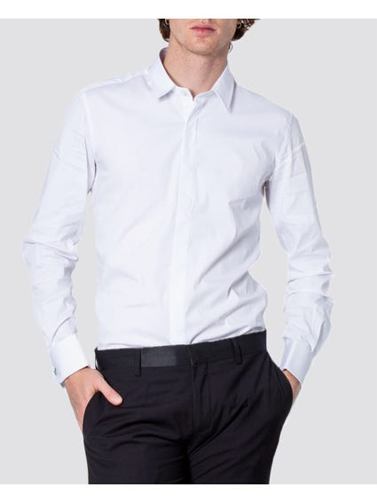 White Plain Long Sleeves Shirt
