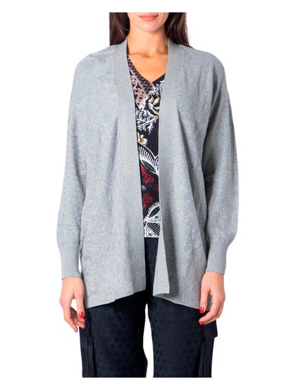 Grey Long Sleeve Open Front Cardigan