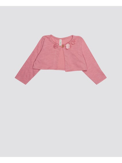 Pink Single Button Infant Cardigan