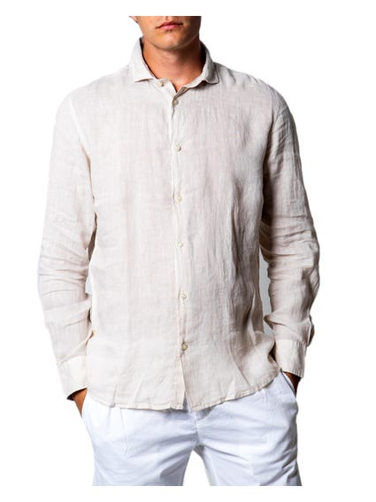 Beige Button Collar Long Sleeve Shirt