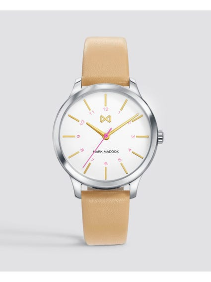Cream Village Analog Watch
