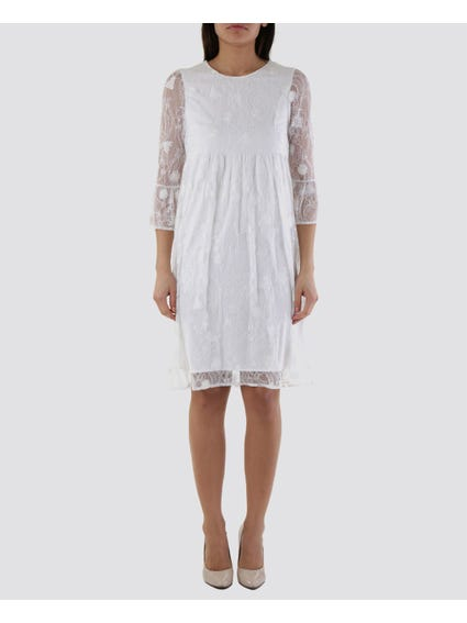 White Lace Short Sleeves Dress
