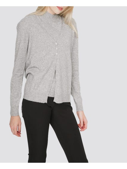 Grey Ribbed Edges Sweater