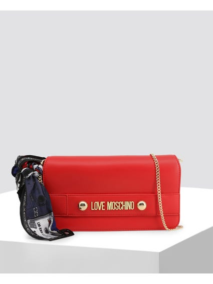 Red Smooth Leather Clutch Bag