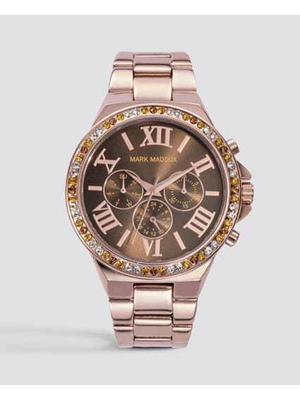 Brown Dial Crystal Multifunction Watch