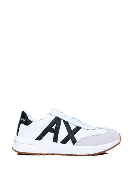 White Lace Up A X Logo Sneakers