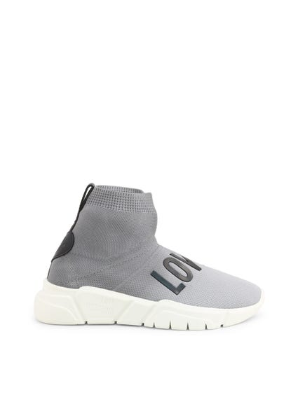 Grey Elastic Slip On Sneakers