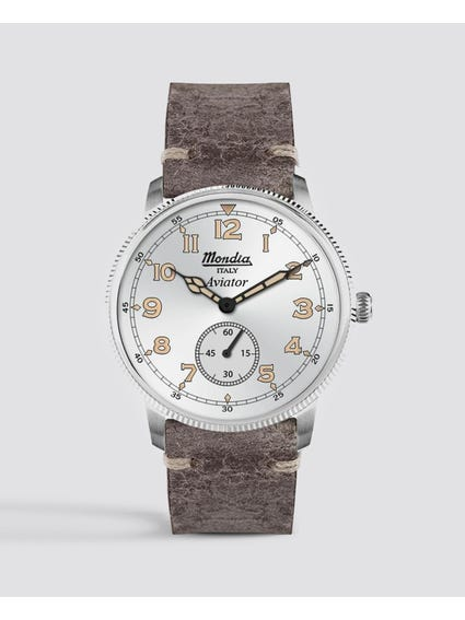 Grey Leather Strap Analog Watch