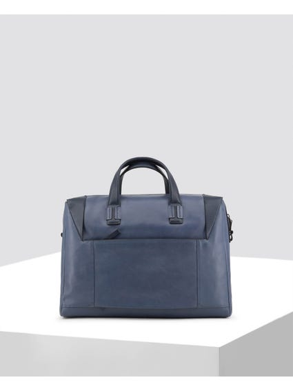 Blue Front Zip Leather Briefcase
